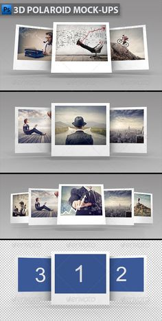 3D Polaroid Mock-ups  -  PSD Template • Download ➝ https://graphicriver.net/item/3d-polaroid-mockups/5819574?ref=pxcr