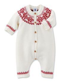 Combinaison bébé jacquard en tricot laine et coton - 12 mois