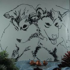 """New Item in my shop """"siberian Huskys"""" , HandMade Illustration, perfect gift for doglover"""