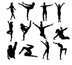Gymnastics Women Silhouette, instant download, PNG, JPG, SVG, eps files Ps-190