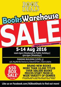 Book Deals Books Warehouse Sale Singapore Promotion 5 to 14 Aug 2016 | Why Not Deals