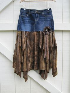 Boho cowgirl skirt Tattered bohemian skirt Brown by ShabyVintage, - might have to make one of these. I remember these boogers being comfy.