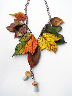 Necklace of the autumn woods by Alenka of Feeling Fimo. Made from polymer clay.