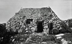 A crofter outside his cottage on Benbecula earily 1900's