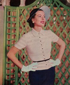 1950's Women's Crochet Overblouse Pattern PDF by betrunkepenguin, $4.20
