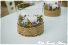 Centerpieces at a Country Vintage Wedding #country #wedding