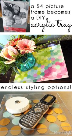 Acrylic trays have become a big trend in recent years, and they range from $30-40 at high end stores. BUT did you know you can make your own DIY acrylic tray for under $5? The styling options are endless... scrapbook paper, adhesive decals and more!