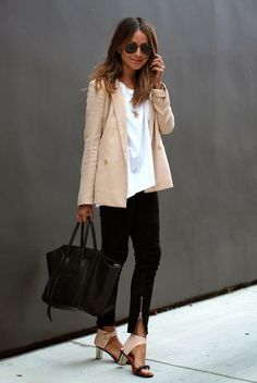 chic work outfit pastel blazer + white shirt + black zipped skinnies