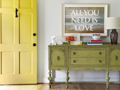 Nothing is more inviting than this colorful entryway with its zesty yellow door, as seen in HGTV Magazine. Vote for Your Favorite Color Palette on HGTV.com >> http://www.hgtv.com/design/packages/color-vs-color/vote-for-your-favorite-color-palette?soc=pinterest