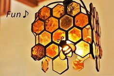 """As an artist El would make these """"Honey comb stained glass"""" Stained Glass Lamps, Stained Glass Designs, Stained Glass Projects, Stained Glass Patterns, Stained Glass Windows, Mosaic Glass, Fused Glass, Window Glass, Glass Vase"""