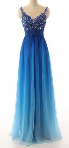 V Neck Gradient Chiffon Prom Dress Spaghetti Straps Beaded Lace Dress - Bridesmaids' & Formal Dresses Sexy Formal Dresses, Beautiful Prom Dresses, Prom Dresses Blue, Dance Dresses, Ball Dresses, Elegant Dresses, Pretty Dresses, Homecoming Dresses, Ball Gowns