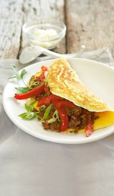 Omelette with cheese and mince