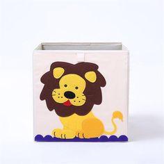 Cube storage box - lion Fabric Storage Boxes, Storage Buckets, Storage Boxes With Lids, Cube Storage, Toy Storage, Storage Ideas, Folding Laundry Basket, Large Laundry Basket, Large Baskets
