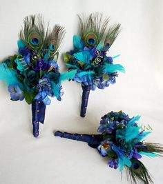 Peacock Bouquet Package Turquoise Blue Purple Eye of by AmoreBride, $296.00