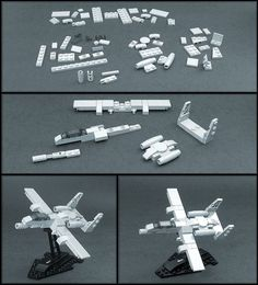 "For the enjoyment of his fellow military aviation buffs, builder has beautifully reverse-engineered this microscale ""Warthog"" fighter jet from a knock-off brand of building block, recreating it using bona-fide LEGO pieces and presenting it Lego Mecha, Robot Lego, Lego Cars, Lego Plane, Lego Spaceship, Lego Helicopter, Lego Avion, Lego Mini, Technique Lego"