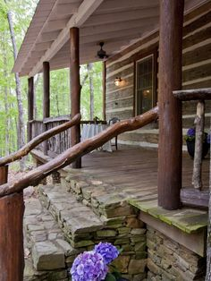 Rustic porch idea for the cabin. Should redo the mountain house railings! Would look amazing