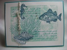 Stampin' Up! By The Tide Bermuda Bay Card Kit - 4 Cards Fish Shell Coral Ocean #StampinUp