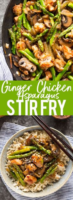 This Ginger Chicken Asparagus Stir Fry is a quick and healthy dinner using fresh spring produce!