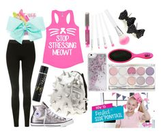 """JoJo Siwa inspired Claire's outfit, hair and makeup"" by itsthesophstar ❤ liked on Polyvore featuring MadPax, claire's, Topshop, Converse, SIWA, Skinnydip, The Wet Brush and GHD"