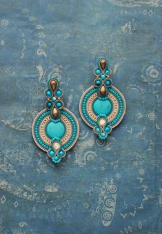 Soutache dangle big gold turquoise blue earrings, Boho embroidered jewelry, Oriental gemstone seed b Soutache Earrings, Seed Bead Earrings, Blue Earrings, Turquoise Earrings, Dangle Earrings, Turquoise Beads, I Love Jewelry, Boho Jewelry, Beaded Jewelry