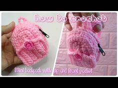 How to Crochet Mini-Backpack with Zip and front pocket Arts And Crafts, Diy Crafts, Mini Backpack, Crochet Hooks, Backpacks, Make It Yourself, Pocket, Youtube, Barbie