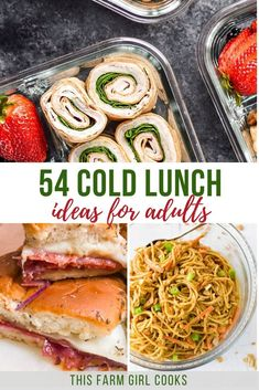 I've rounded up 54 of the best cold lunch ideas for work, no heat required! If you need ideas for easy lunches to take to work, then read on! Healthy Lunches For Work, Work Meals, Prepped Lunches, Easy Meals, Work Lunches, Make Ahead Lunches, Snacks For Work, Cold Lunch Ideas For Work, Quick Easy Lunch Ideas