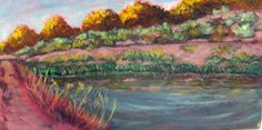 """""""Acequia at Rio Grande Nature Park"""" Acrylic on canvasboard, 10"""" x 20""""    Polly Jackson is an artist from Albuquerque, New Mexico, USA, whose paintings I admire.  Would you love to own one of her paintings that I have pinned? Contact her at: Email: artistpolly@gmail.com      Website:  http://www.pollyjackson.com  http://facebook.com/artistpolly #RioGrande #Painting #PollyJackson"""