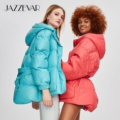 Discount until February 2020 - JAZZEVAR 2019 Winter New Fashion Street Designer Brand Womens White Duck Down Jacket Pretty Girls Outerwear Coat With Belt