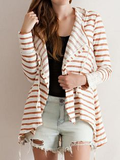 Shop Red And White Stripe Print Lace Cuff Hooded Cardigan from choies.com .Free shipping Worldwide.$17.99