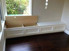 Built In Bench Seat With Storage (Put Along Wall In Family Room For within Amazing Built In Window Benches For Your Residence Inspiration Storage Bench Seating, Banquette Seating, Window Storage Bench, Dining Bench With Storage, Bench Seat Dining Room, Outdoor Storage, Diy Bench Seat, Storage Stairs, Porch Bench