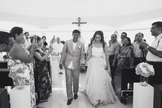 Bride and groom's exit from the chapel | Mexican Indian Fusion Wedding | Adrienne Fletcher Photography @adrinfletcher | @kateaspen