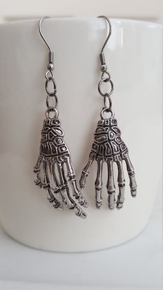 Hanging Hands Skeleton Hands Grim Reaper Hands Earrings