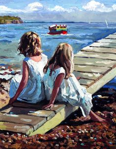 """Childhood is measured out by sounds and smells and sights, before the dark hour of reason grows."" Artist: Sheree Valentine Daines ༺ß༻ Seaside Art, Beach Art, Art And Illustration, Art Plage, Images D'art, L'art Du Portrait, Painting People, Art Abstrait, Rock Art"