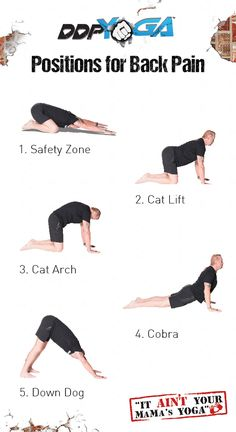 DDP YOGA positions for back pain. Based on a recent study, these 5 positions can help you alleviate back pain | yoga for back pain, back pain relief, sore back, stretches for back pain, back pain stretch