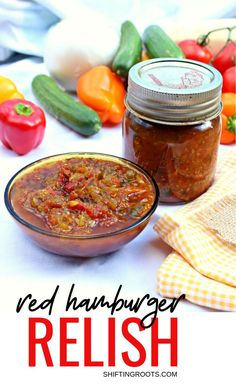 This old fashioned sweet tomato relish is a small batch canning recipe that is delicious on burgers, hotdogs, and sausage. It takes a bit of time, but is worth it because this stuff is hard to find in stores! Red Relish Recipe, Hamburger Relish Recipe, Relish Recipes, Sweet Relish Recipe Canning, Cucumber Jelly Recipe, Jelly Recipes, Pepper Relish, Tomato Relish, Pickle Relish