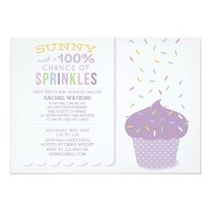 Purple Cupcake Sprinkles Baby Shower Invitation