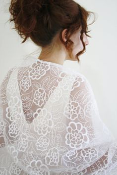 KITTY white bridal wrap, white wedding shawl, white organza embroidered bridal shawl or wrap . has an unique and discreet floral pattern