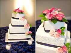 wedding cake with pink calla lily topper, classic Southern navy and pink wedding, Robyn Van Dyke Photography
