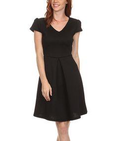 Look at this #zulilyfind! Black Pleated V-Neck Dress #zulilyfinds