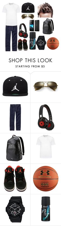"""""""Basketball Beats"""" by aprincessesmanydresses ❤ liked on Polyvore featuring Jordan Brand, Ray-Ban, Patagonia, SMS Audio, Puma, Versace, NIKE, Under Armour, G-Shock and Sony"""