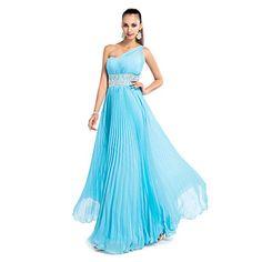θήκη / στήλη με έναν ώμο πάτωμα-μήκους σιφόν βράδυ / χορό φόρεμα με πιέτες – EUR € 81.67