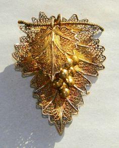 1930's Portuguese Cannetille Silver Filigree Grape Brooch | eBay
