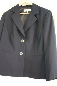 2c283e0bb45c9 NWT Women s Jones Studio Lined Navy Blazer Silver Buttons 18W Plus Size New   JonesStudio