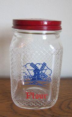 Vintage Hazel Atlas Dutch Glass Flour Shaker Jar on Etsy, $22.00
