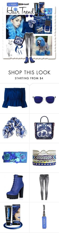 """Hair Trend💙Blue Beauties"" by tmcintyre ❤ liked on Polyvore featuring beauty, Blue Blush, Dondup, GlassesUSA, Black, Tory Burch, PaintGlow, hairtrend and rainbowhair"