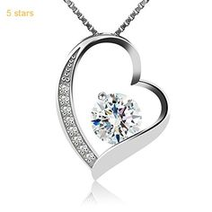 B.Catcher Sterling Silver Sparking Cubic Zirconia Snowflake Pendant Necklace, 18