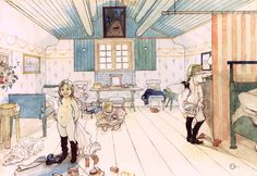 Titre de l'image : Carl Larsson - Mamma's and the Small Girl's Room, from 'A Home' series THIS PICTURE HUNG IN LAUREL'S ROOM WHEN SHE WAS A LITTLE GIRL.  A FAVORITE OF MINE