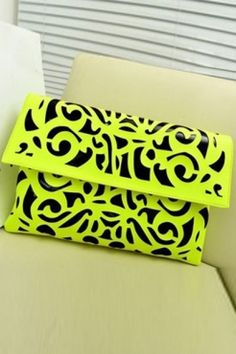 Yellow & Black Vintage Print Clutch Bag