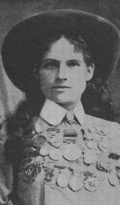 Phoebe Mozee (aka: Annie Oakley). Famed for her marksmanship by 12 years old, she once shot the ashes off of Kaiser Wihelm II's cigarette at his invitation. When she outshot famed exhibition marksman Frank Butler, he fell in love with her and they married. They remained married the rest of their lives.