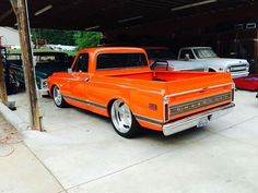 Not sure about the orange of coarse , it confuses me lol but the truck would be a blast Lowered Trucks, C10 Trucks, Chevy Pickup Trucks, Classic Chevy Trucks, Chevrolet Trucks, Dropped Trucks, 67 72 Chevy Truck, Chevy C10, Chevy Pickups